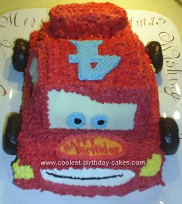 Homemade Disney Cars Lightning McQueen Birthday Cake