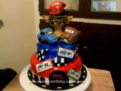 Homemade Disney Cars Tiered Cake