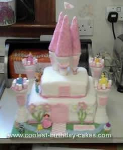 Homemade Disney Princess Castle Cake