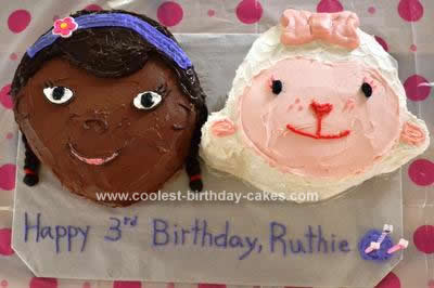 Homemade Doc McStuffins and Lambie Birthday Cake