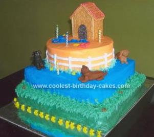 Homemade  Doghouse Birthday Cake