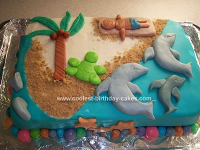 Homemade  Dolphins at the Beach Cake