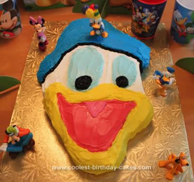 Homemade Donald Duck Birthday Cake
