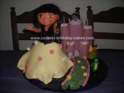Homemade Dora Castle Cake