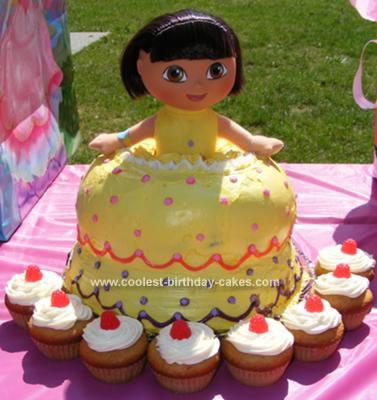 Homemade Dora Doll Birthday Cake
