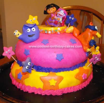 Homemade Dora the Explorer Birthday Cake