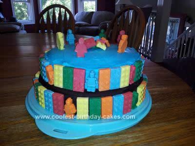 Homemade Double Decker Lego Cake