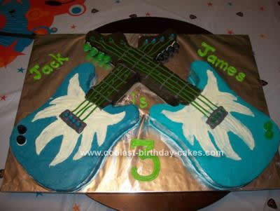 Homemade Double Guitar Birthday Cake