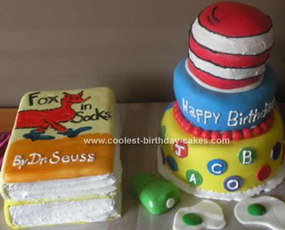 Homemade Dr. Seuss 1st Birthday Cake Design