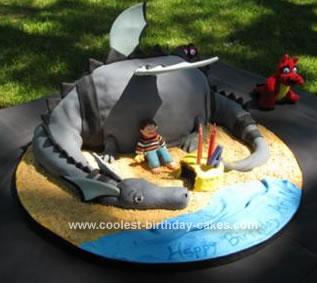 Homemade Puff the Magic Dragon Birthday Cake
