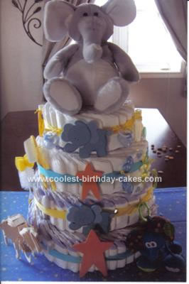 Homemade Elephant and Stars Diaper Cake