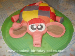 Homemade Elmer the Patchwork Elephant Cake