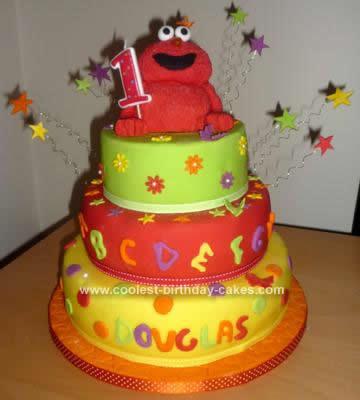 Homemade Elmo 1st Birthday Cake