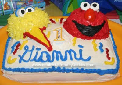 Homemade Elmo and Big Bird Cake