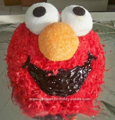 Homemade Elmo and Cookie Monster Birthday Cakes