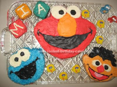 Homemade Elmo and Friends Cake