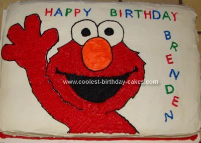 Homemade Elmo Birthday Cake