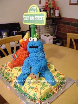 Homemade Elmo & Cookie Monster Cake