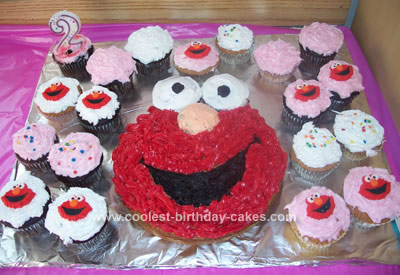 Homemade  Elmo Cupcakes and Cake
