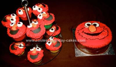 Homemade Elmo Cupcakes and Cake Ideas