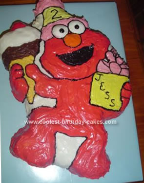 Homemade Elmo Turns 2 Birthday Cake
