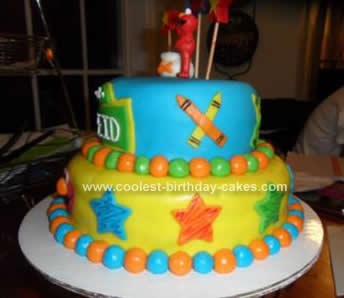 Homemade  Elmo's World Birthday Cake