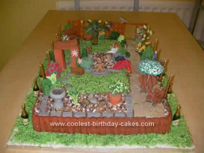 Homemade English Garden Birthday Cake