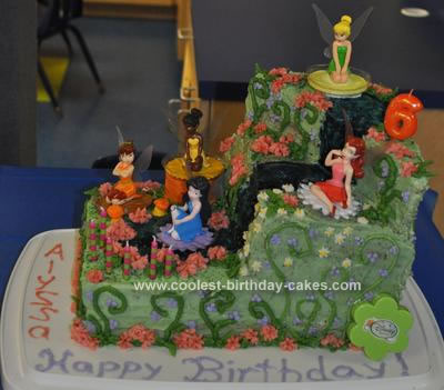 Homemade Fairy Tinkerbell Birthday Cake