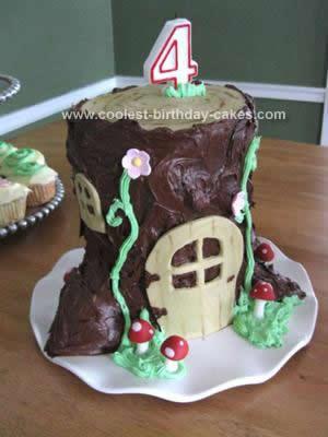 Homemade Fairy Tree Trunk Cake