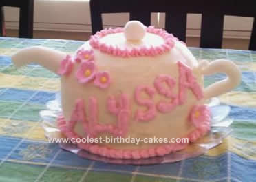 Homemade  Fancy Tea Party Teapot Cake