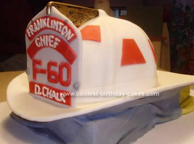Homemade Fire Chief Helmet Cake