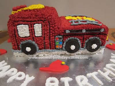 Homemade Fire Engine 3rd Birthday Cake