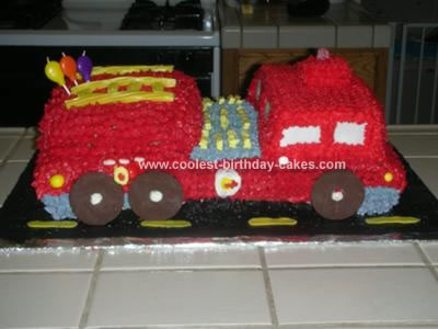 Homemade Fire Engine Birthday Cake