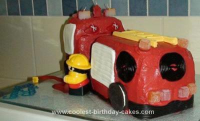 Homemade Fire Engine Birthday Cake