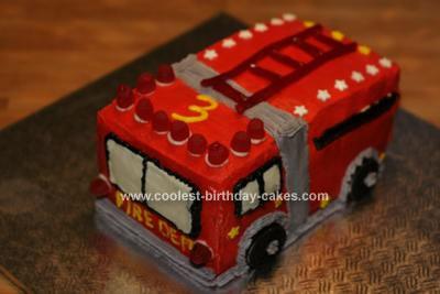Homemade Fire Truck 3rd Birthday Cake