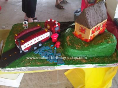 Homemade Fire Truck and Burning House Cake