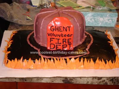 This Firefighter Cake was made for my husband's boss' father-in-law,