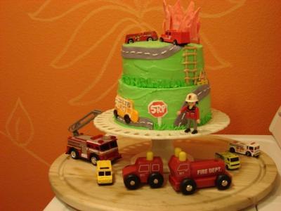 Homemade Firefighter Theme Birthday Cake