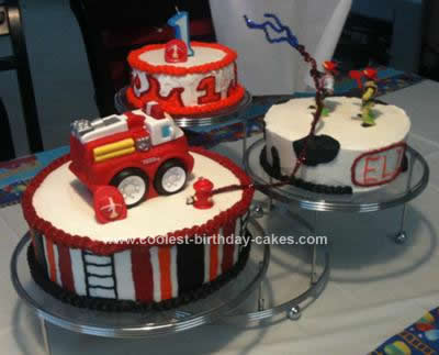 Homemade Firetruck 1st Birthday Cake