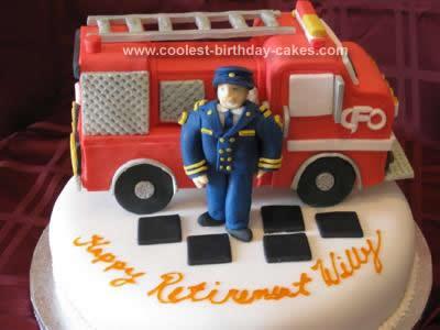 Homemade  Firetruck Retirement Cake