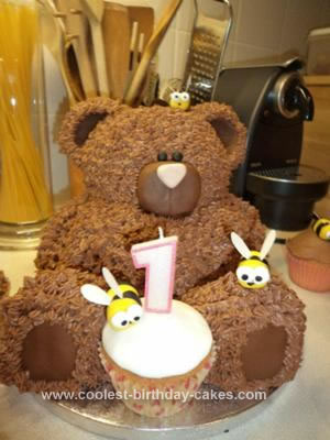 Homemade First Birthday Bear Cake