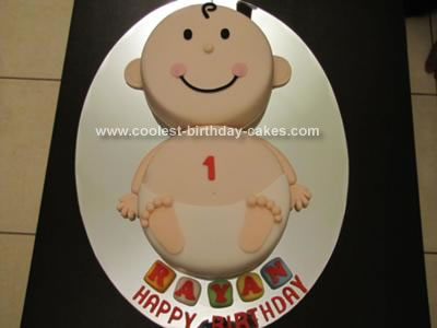 Homemade First Birthday Diaper Baby Cake