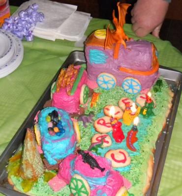 Homemade First Try Dinosaur Theme Train Birthday Cake