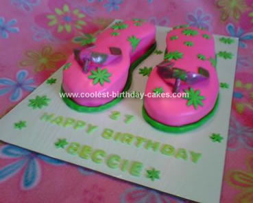 Homemade Flip Flop Birthday Cake