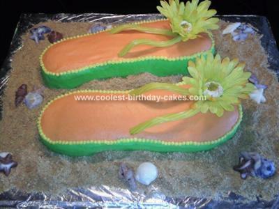 Homemade Flip Flop Luau Cake