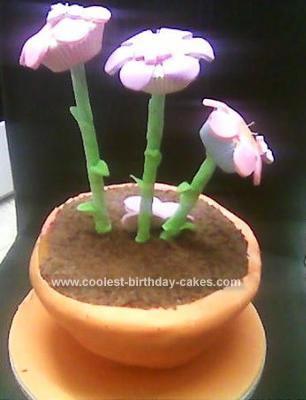 Homemade Flower Pot Birthday Cake