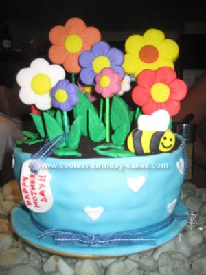 cakes with flowers on them. I baked two cakes, put them on