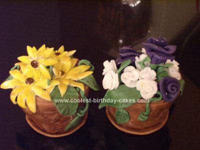 Homemade Flower Pots Birthday Cake