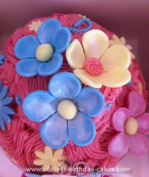 Homemade Flowers Giant Cupcake