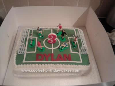 Homemade Football Pitch Birthday Cake